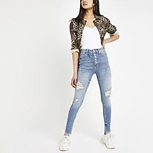 Hailey – Mittelblaue Jeans im Used-Look mit hohem Bund
