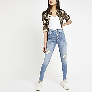 Hailey - Middenblauwe ripped jeans met hoge taille