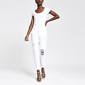 Witte Mom jeans met hoge taille