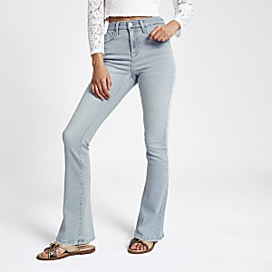 Light blue high rise bootcut flared jeans