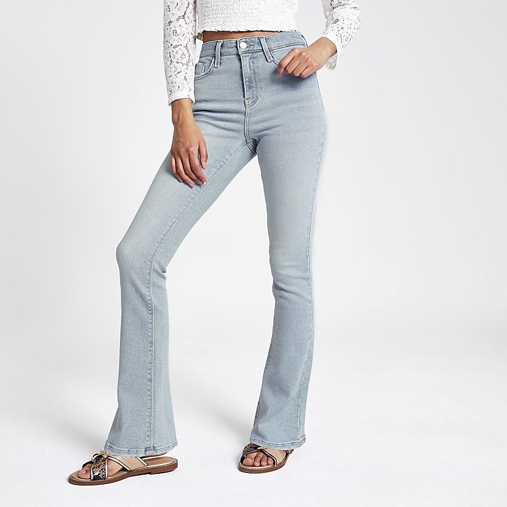 Lichtblauwe wijduitlopende jeans met bootcut en hoge taille
