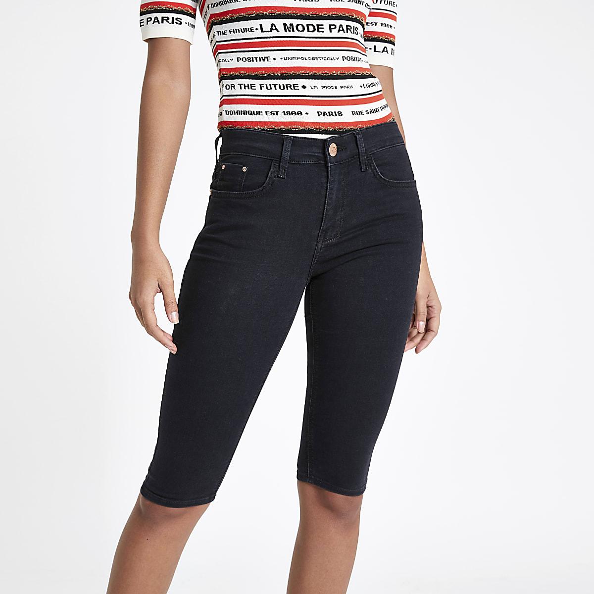 Black denim cycling shorts