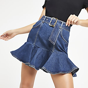 Blue denim frill mini skirt
