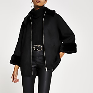 Black faux suede cape jacket