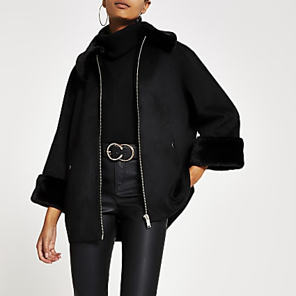 Black faux suede cape jacket