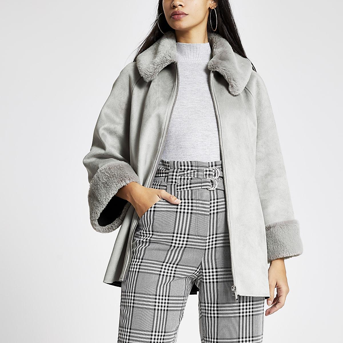 Grey faux suede cape jacket