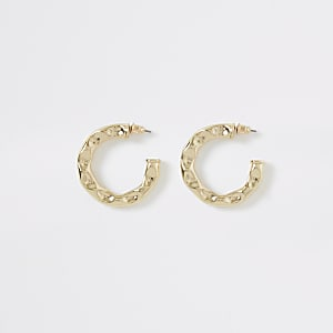 Gold colour battered midi hoop earrings