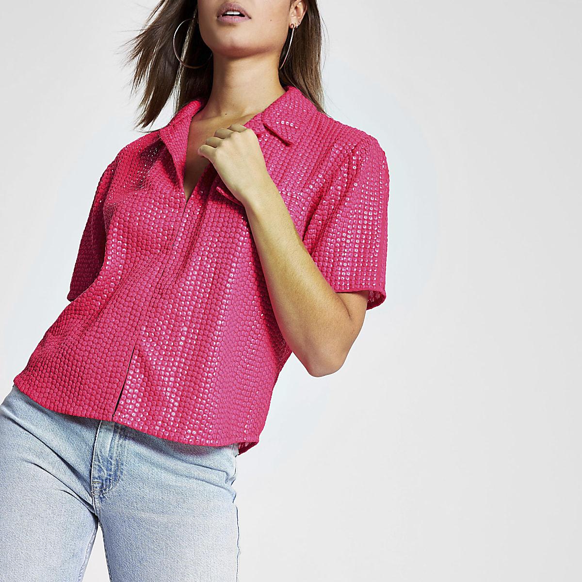 Pink sequin embellished shirt