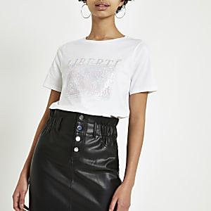 Wit T-shirt met 'Liberte'-folieprint