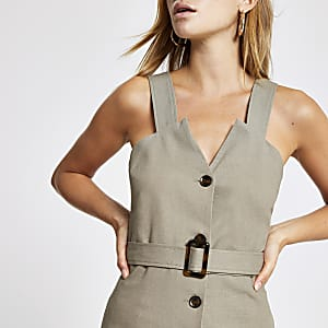Khaki belted top
