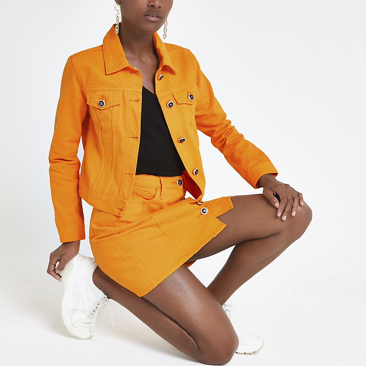 Bright orange denim fitted jacket