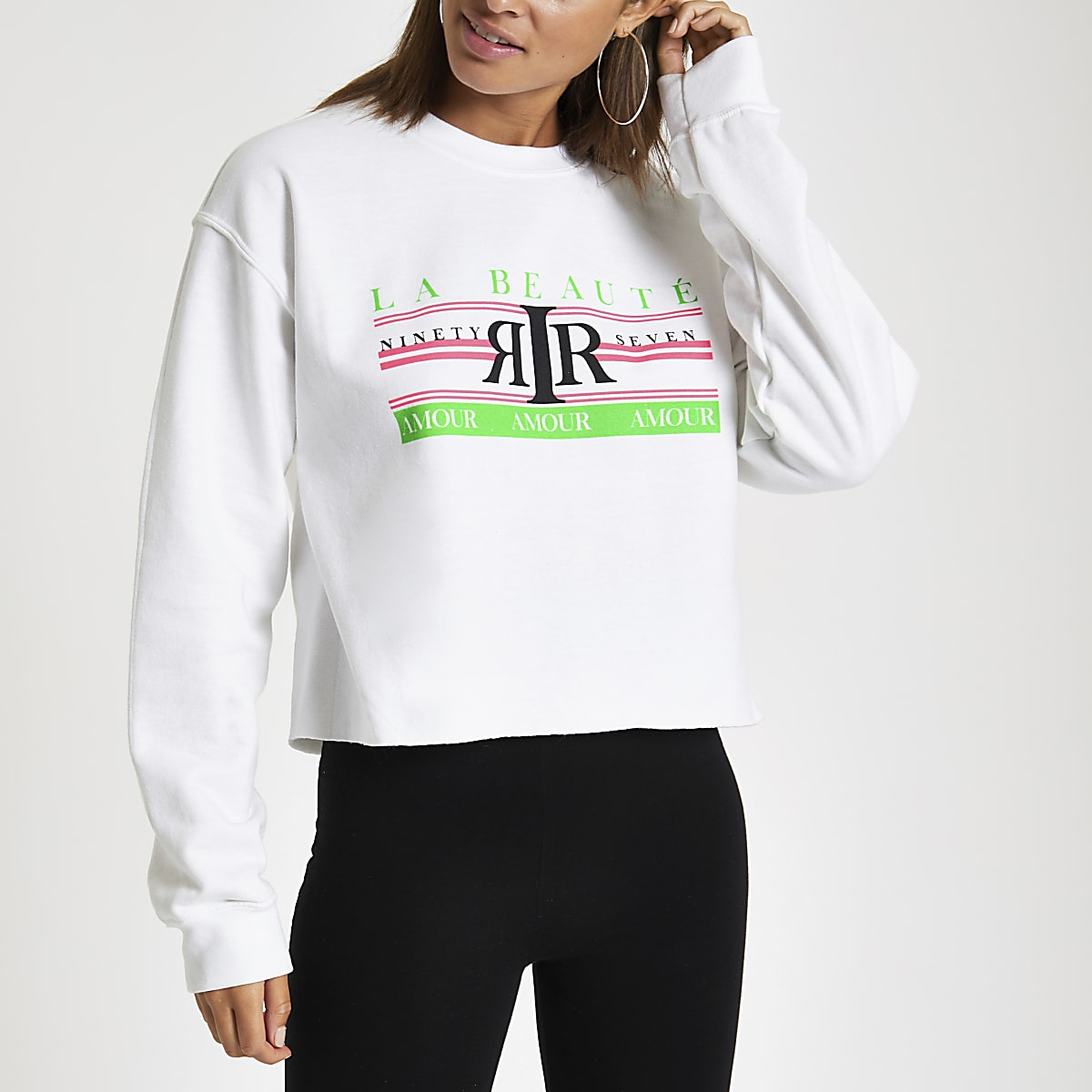 White 'La beaute' neon print sweatshirt