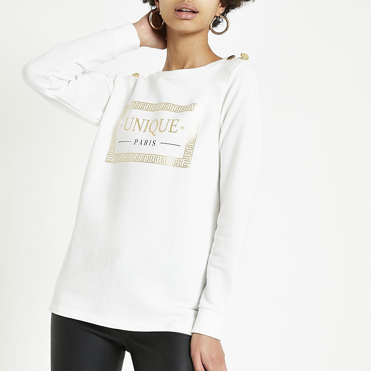 White 'Liberte' button shoulder sweatshirt