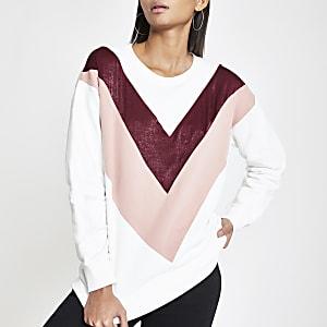 Wit sweatshirt met zigzagmotief en diamantjes
