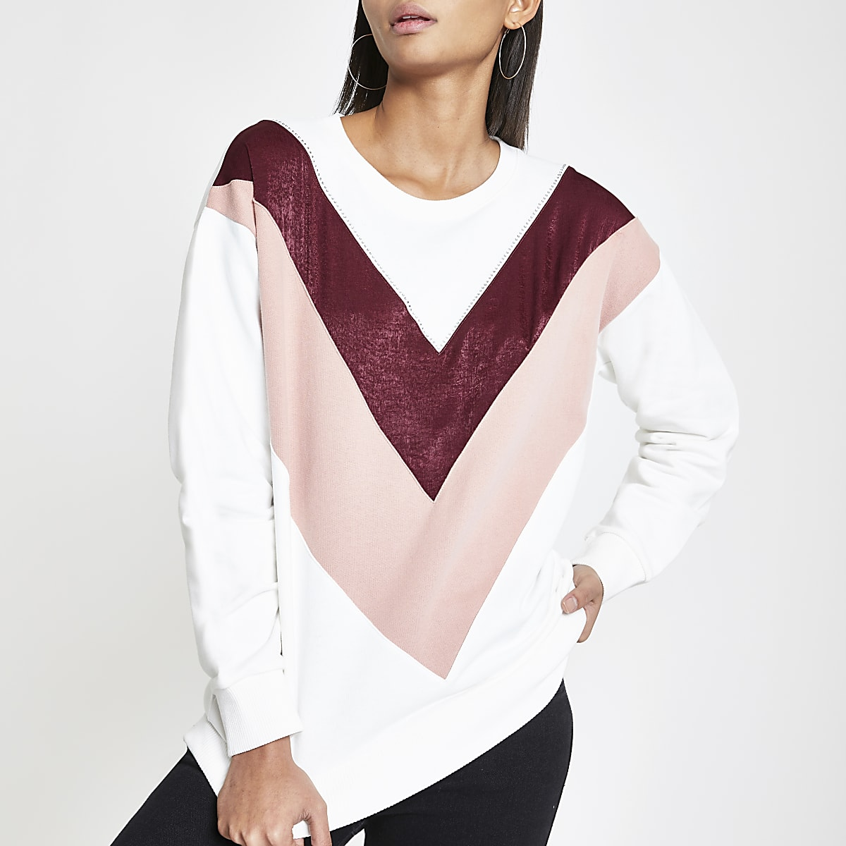 White chevron diamante sweatshirt