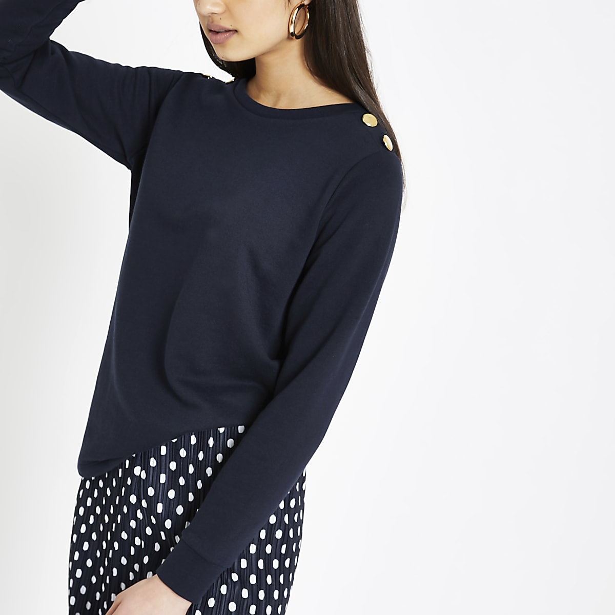 Navy button shoulder sweatshirt