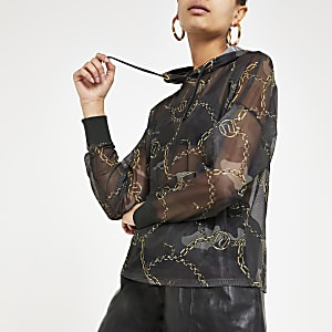 Kaki hoodie met mesh en camouflageprint