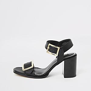 Schwarze Sandalen mit Blockabsatz und Schnallen, weite Passform