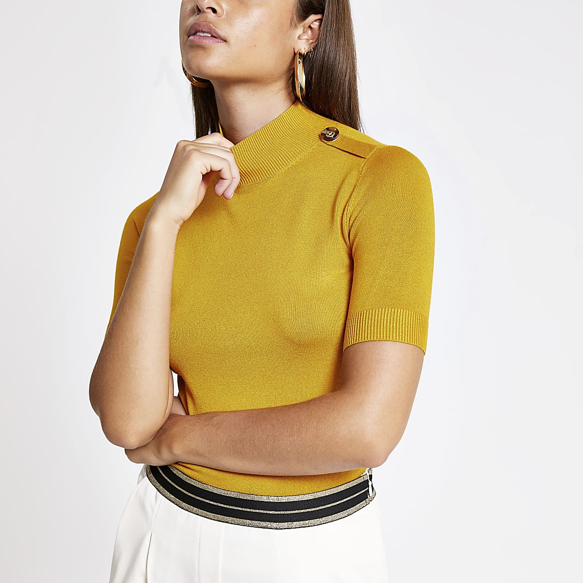 Yellow knitted high neck T-shirt