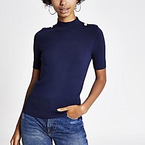Marineblaues, gestricktes T-Shirt
