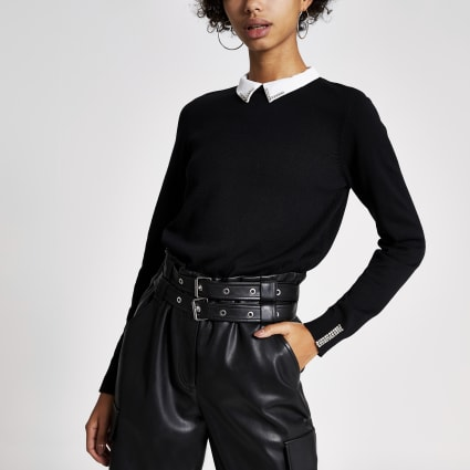 Black long sleeve diamante collar knitted top