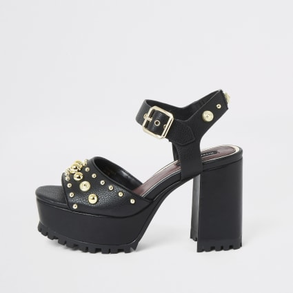 Black studded platform cleated sandals