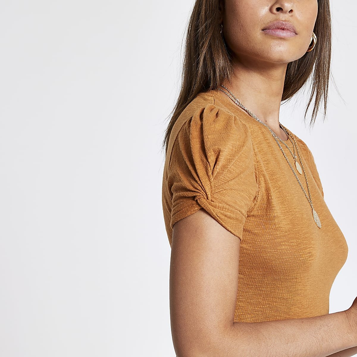 Rust puff sleeve top
