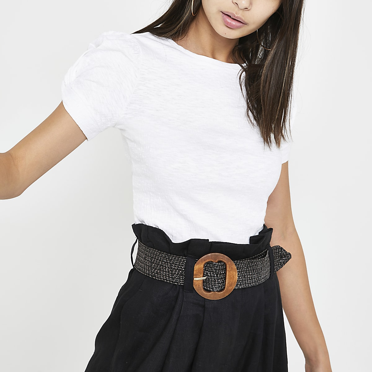 White puff sleeve T-shirt