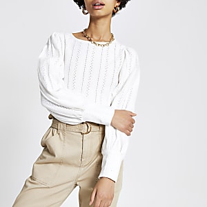 Top en broderie anglaise blanc avec manches bouffantes