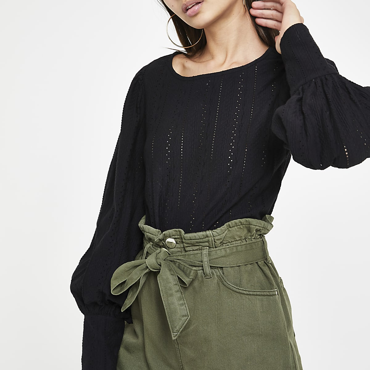 Black broiderie puff sleeve top