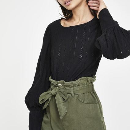 Black broiderie puff sleeve top