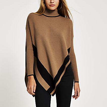 Brown knitted tipped high neck cape jumper