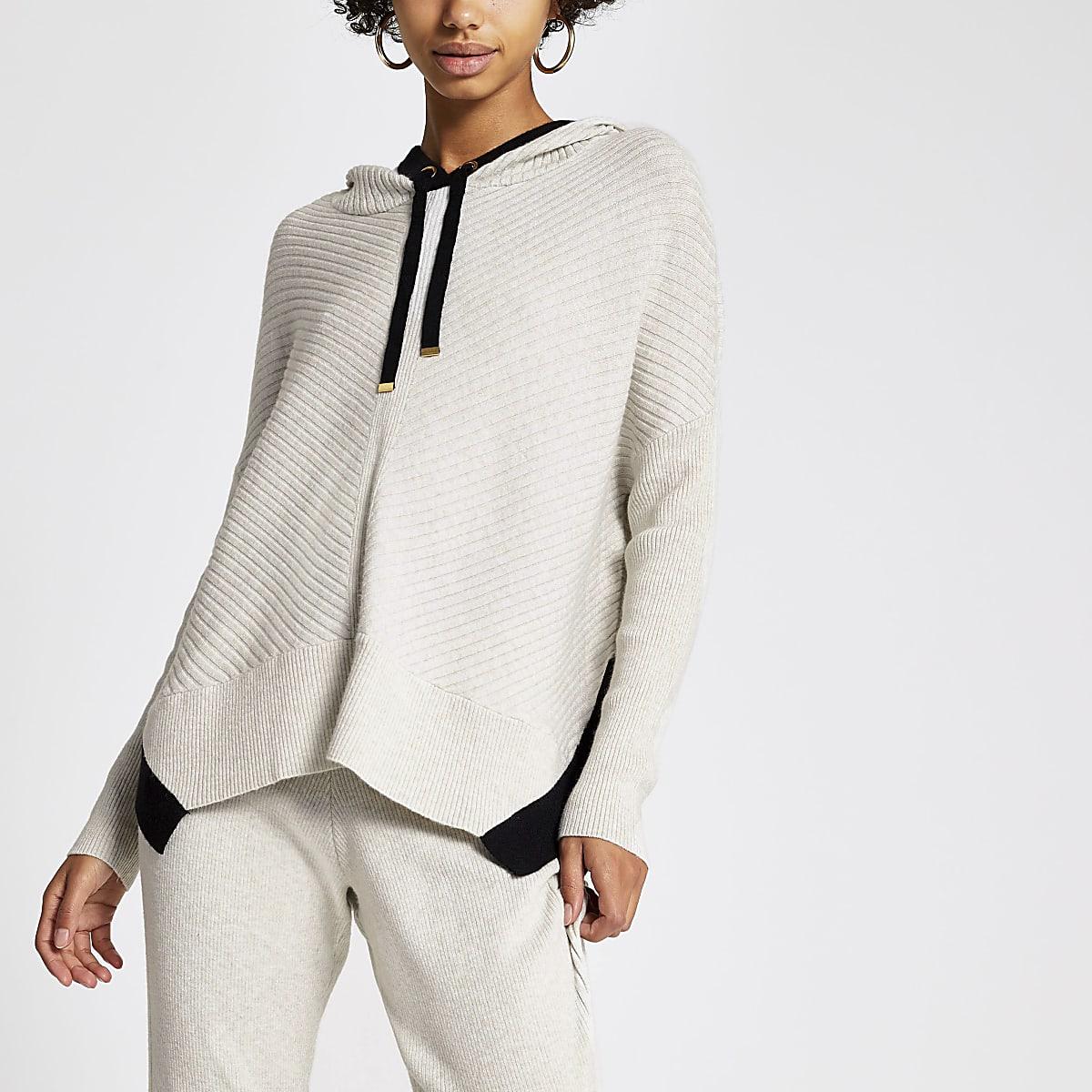 Geribbeld gebreide crèmekleurige hoodie met lange mouwen