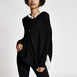 Black rib knitted long sleeve hoodie