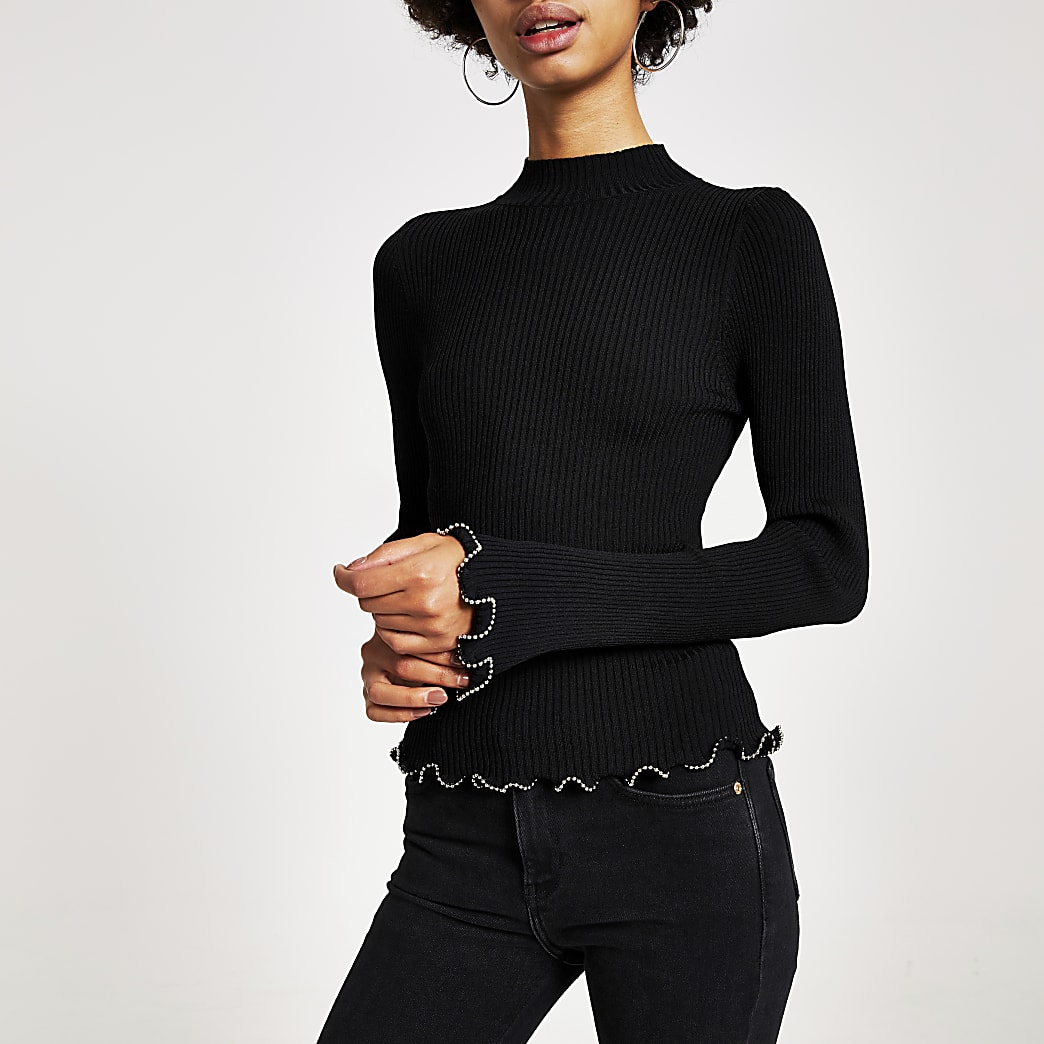 Black high neck beaded trim knitted top