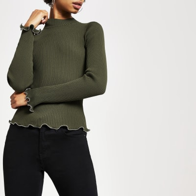 Khaki High Neck Beaded Trim Knitted Top by River Island