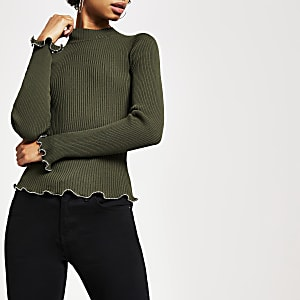 Khaki high neck beaded trim knitted top