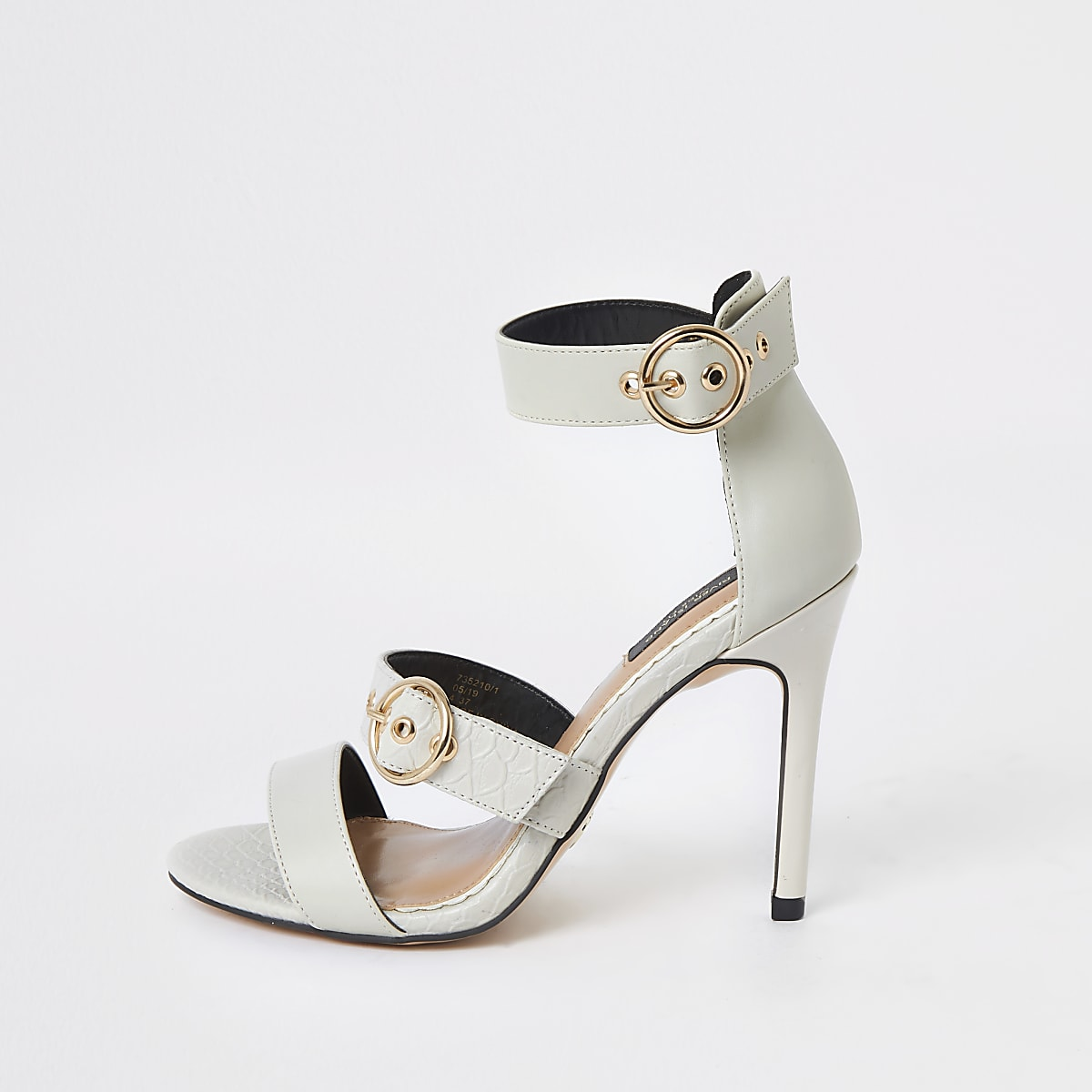 Cream wide fit snake triple strap sandal