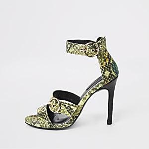 Grüne Sandalen mit Print, weite Passform