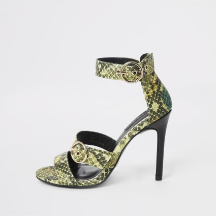 Green wide fit print triple strap sandal
