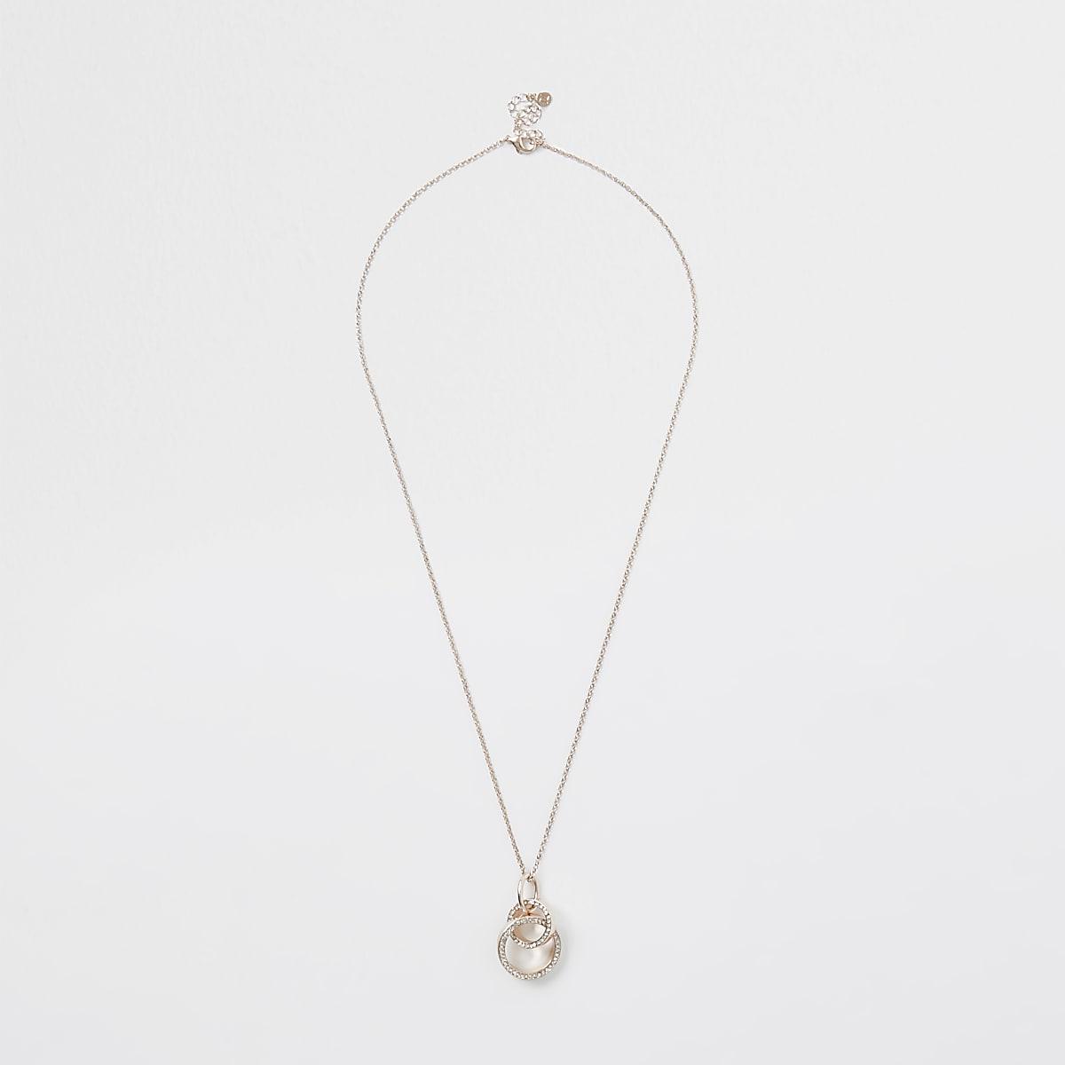 Rose gold paved interlinked pendant necklace