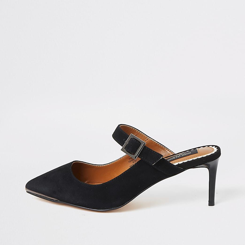 Black suede wide fit slim heel mules