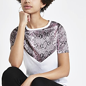 White snake print T-shirt