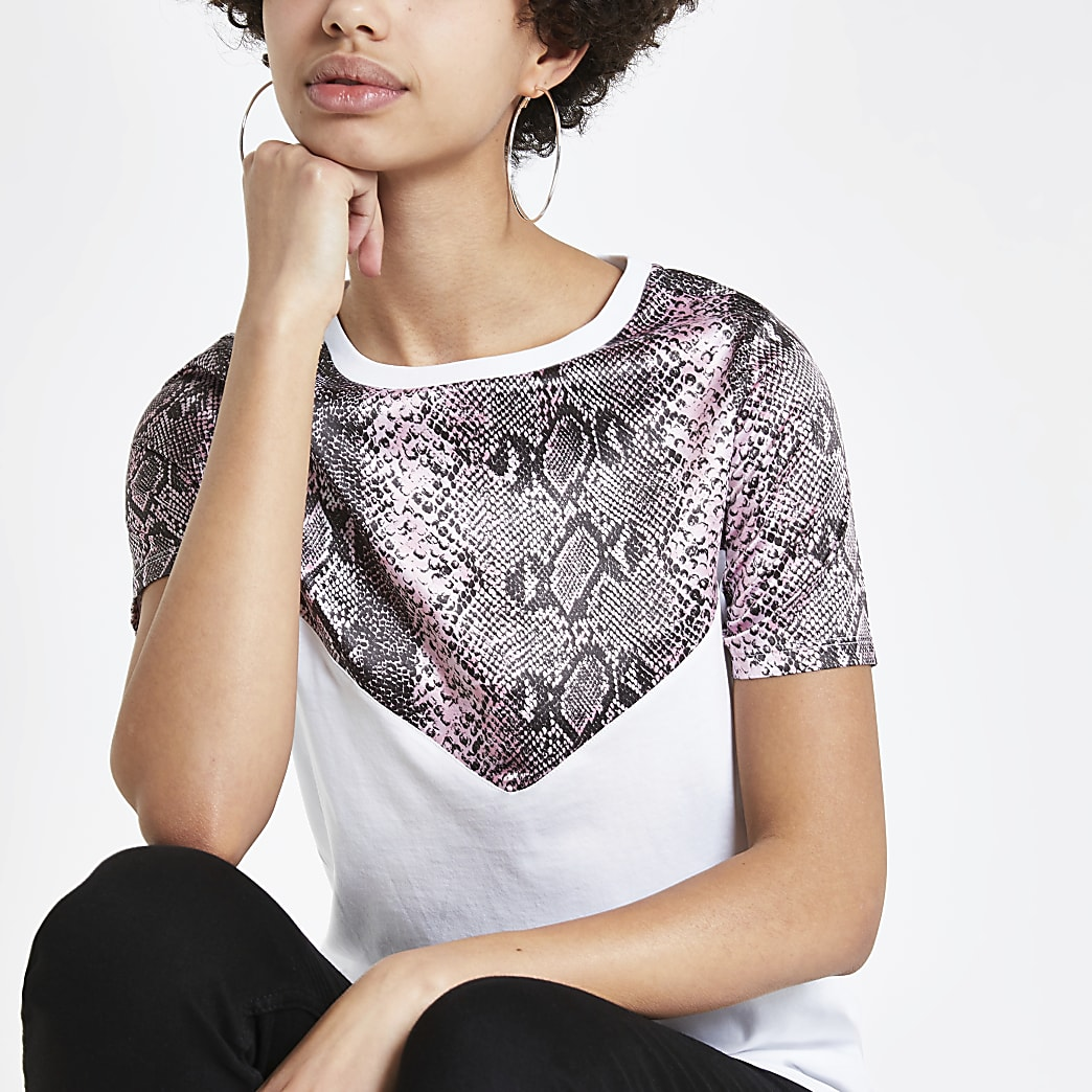 Wit T-shirt met slangenprint