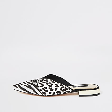 White mixed animal print backless loafers