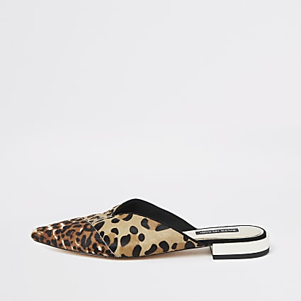 Brown leopard print backless loafers