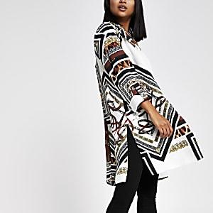 RI Petite - Bruine lange blazer met print