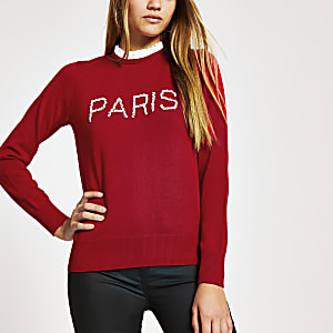 Top rouge en tricot « Paris » orné de perles