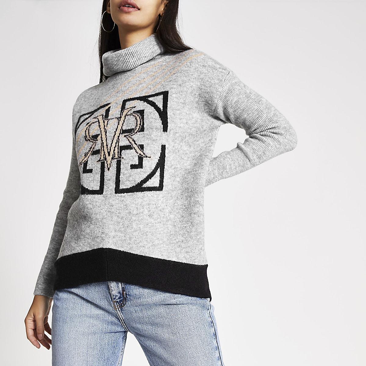 Grijze gebreide pullover met col en 'RVR'-print