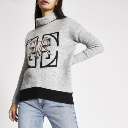 Grey RVR print roll neck knitted jumper